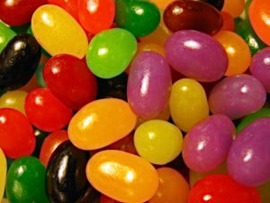 Closeup of colorful jelly beans.