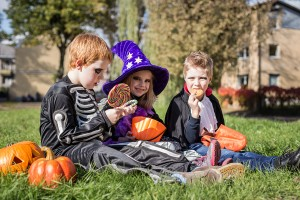 Three little cute friends sitting on the grass and eating Hallow